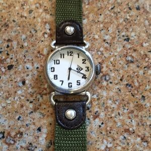 Silpada Stainless Steel Leather Olive Nylon Watch